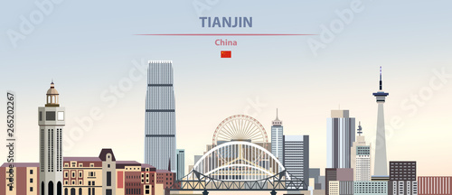 Fototapete Vector illustration of Tianjin city skyline on colorful gradient beautiful daytime background
