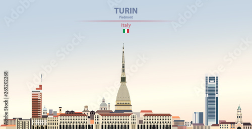 Fototapete Vector illustration of Turin city skyline on colorful gradient beautiful daytime background
