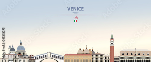 Fototapete Vector illustration of Venice city skyline on colorful gradient beautiful daytime background