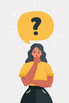 Woman with question mark in think bubble.