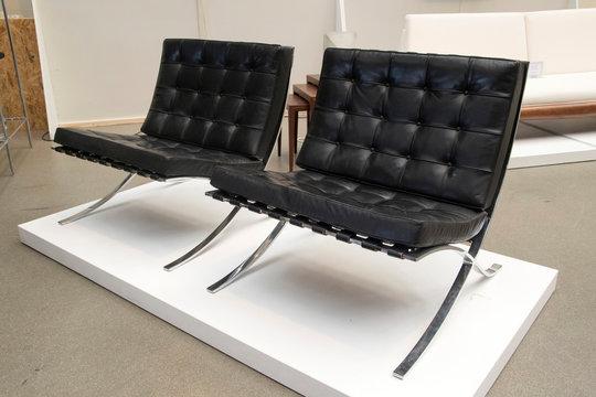 interior design of black barcelona chair