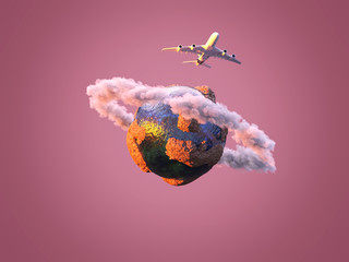 Fototapete - airplane flies over the small planet