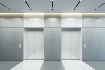modern elevator with closed doors in office lobby, 3d rendering