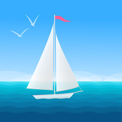 Beautiful seascape with sail boat