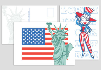 American Flag Postcard Set