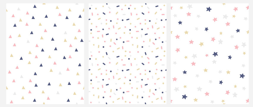 Set of 3 Geometric Seamless Vector Pattern with Pink, Gold and Gray Dots, Triangles, Stars Isolated on a White Background. Simple Lovely Confetti Rain. Bright Starry Layout. Cute Dotted Vector Design.
