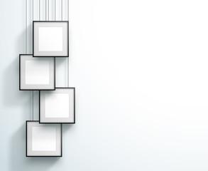 Photo Frame 4 Set Hanging Overlapping Square Design