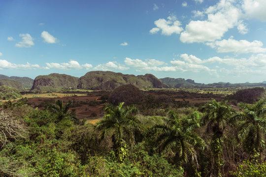 Tropical Cuban valley under blue skies