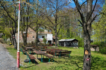 """Cer, Serbia April 19, 2019: Mountaineering house """"Lipova voda"""" at the top of the mountain Cer. It is located at an altitude of 640 meters."""
