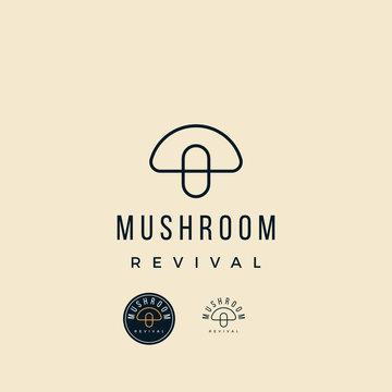 abstract Mushroom pill medicine with line art logo design inspiration