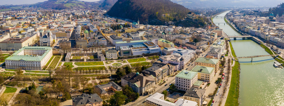 Beautiful view of famous Mirabell Gardens in Salzburg