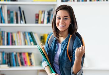 Cheering spanish female student