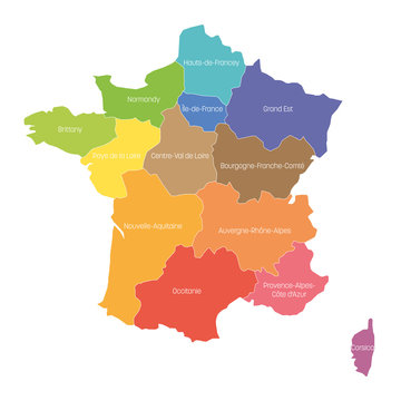 Regions of France. Map of regional country administrative divisions. Colorful vector illustration