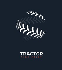 Tractor tire print vector logo. Wheel shop isolated logotype template