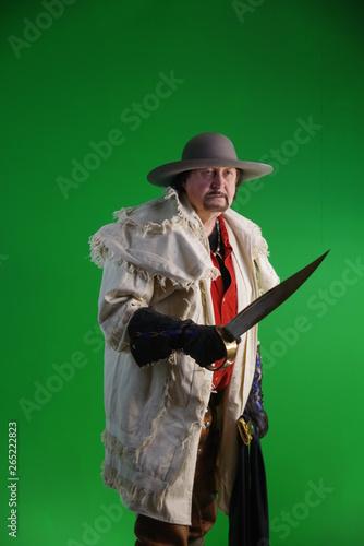 Mountain Man, flintlock, cutlass, knife, coonskin, fur
