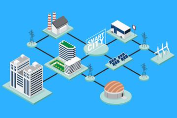 Smart City Technology Conceptual Isometric Illustration