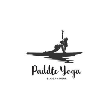 female yoga paddle board silhouette logo