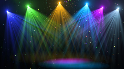 abstract of empty stage with colorful spotlights or Several bright projectors for scene lighting effects . can be used for display or montage your products Wall mural