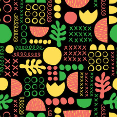 Contemporary geometric shapes seamless vector background. Green yellow coral red black leaf plant and abstract shapes pattern