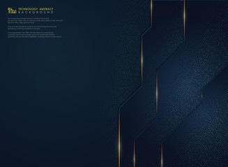Abstract luxury gradient blue technology with gold glitters background. illustration vector eps10