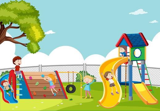 Kids playing in playground scene