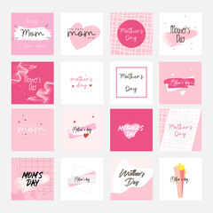 Set of Happy Mothers Day lettering greeting cards template. Hand drawn elements and letters. Suitable collection for background, banner, sticker, e-mail, website. Vector illustration