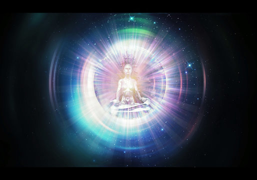 Abstract Artistic 3d rendering illustration of a Colorful Buddha Meditation Through Out Spacetime