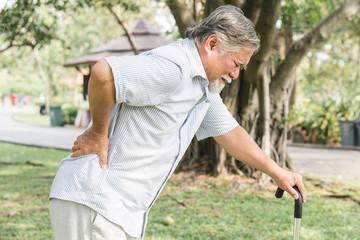 Asian elderly having pain on his back.