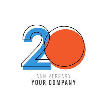 20 Year Anniversary Vector Template Design Illustration