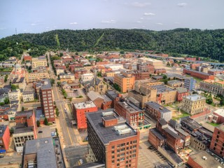 Aerial View of Downtown Wheeling, West Virginia on the Ohio River Wall mural