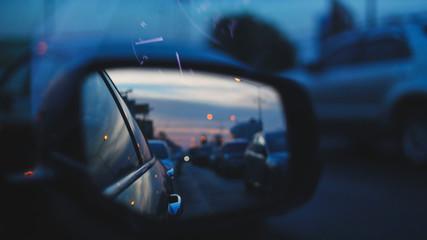 Fotomurales - traffic jam on urban road, car drive in night city street