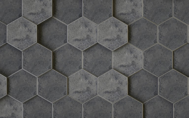 Abstract 3d hexagons background design, 3d rendering,conceptual image.