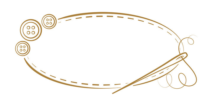 Vector vintage horizontal oval frame with a needle and buttons decoration