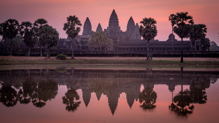 Famous Angkor Wat Temple at Sunrise, Cambodia