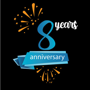8 anniversary pictogram icon, years birthday logo label. Vector illustration. Isolated on black background - Vector