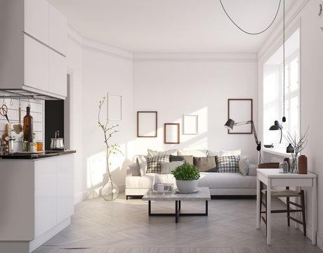 scandinavian style living room design.
