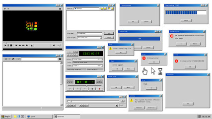Old user interface. Retro browser windows and error message popup. Mockup of vintage multi media player, voice recorder and dialog box with system information. Pixelated computer mouse icons.