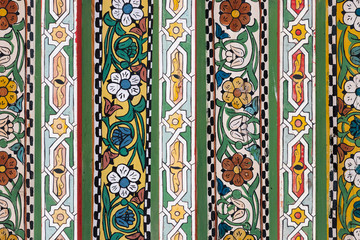 Colorful decorative tiles in Bahia Palace in Marrakesh, Morocco