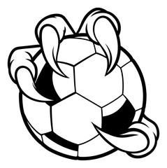 Eagle, bird or monster claw or talons holding a soccer football ball. Sports graphic.