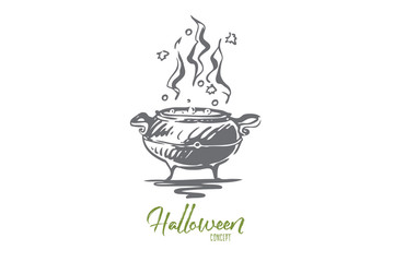 Pot, poison, Halloween, potion, holiday concept. Hand drawn isolated vector.