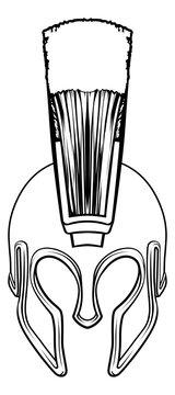 A Roman, gladiator or ancient Greek Spartan or Trojan warrior helmet