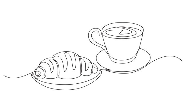 breakfast with croissant and coffee drawn in one line style.