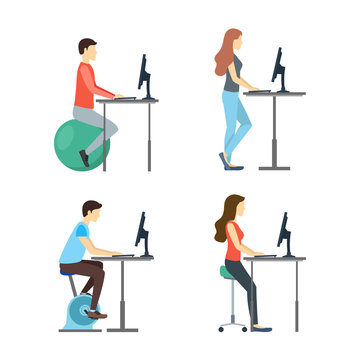 Cartoon Characters People Standing Desk Set. Vector