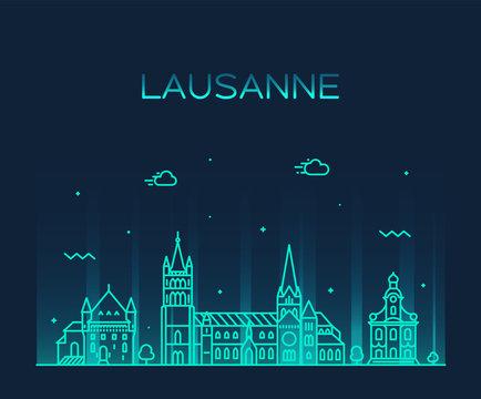 Lausanne skyline Switzerland a vector linear style