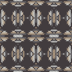 Ethnic boho seamless pattern. Embroidery on fabric. Patchwork texture. Weaving. Traditional ornament. Tribal pattern. Folk motif. Can be used for wallpaper, textile, invitation card, wrapping, web pag