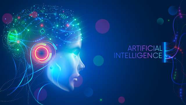 Artificial intelligence in humanoid head with neural network thinks. AI with Digital Brain is learning processing big data, analysis information. Face of cyber mind. Technology background concept.