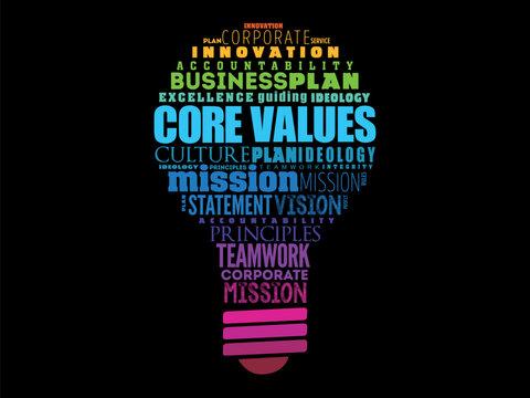 Core values light bulb word cloud collage, business concept background