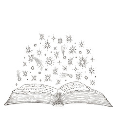 Open magic book hand drawn. Mystical stars. Vector ink sketch in vintage style. Isolated on white background illustration