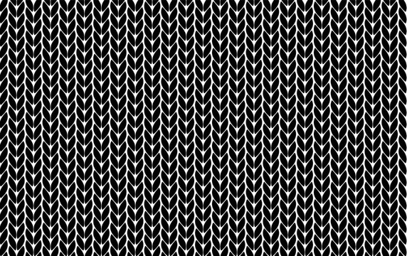 Knitting vector pattern. Vector texture seamless pattern. Black knit texture seamless pattern. Vector seamless background