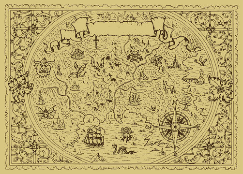 Vector fantasy map with baroque decorative frame and mythology creatures.